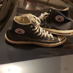 Blue leather converse all star